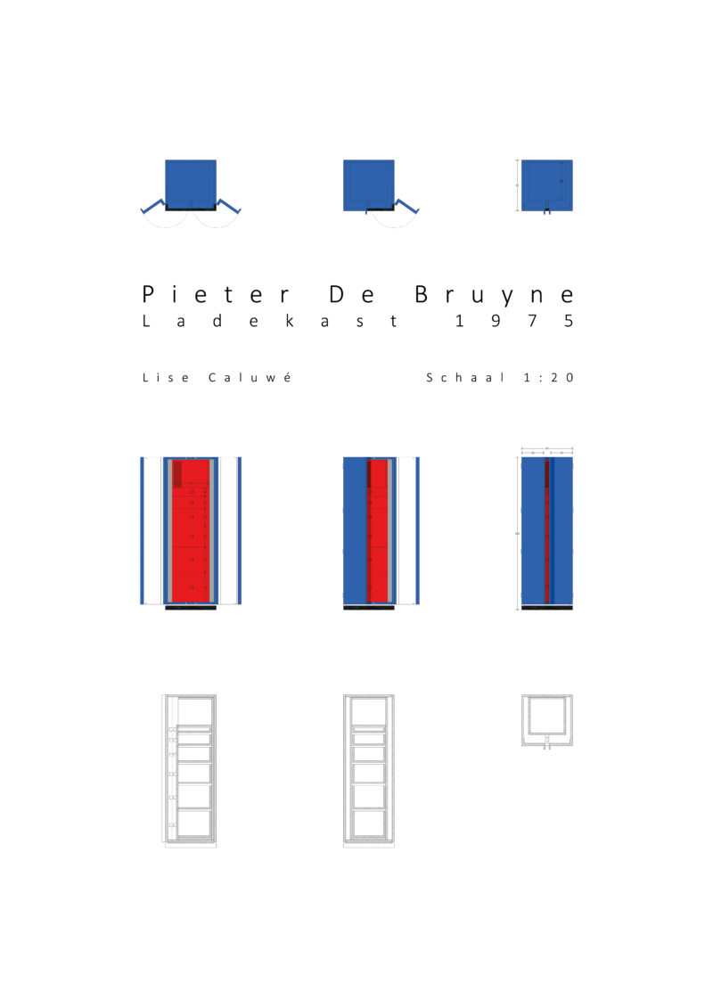 Lise Caluwé - detailed drawing of Pieter De Bruyne's blue-red cupboard