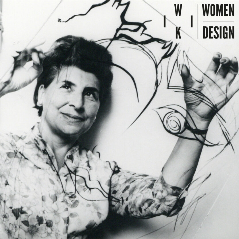 May Néama with her work for the provincial prize for graphic arts 1965 Collection City of Antwerp Letterenhuis with logo