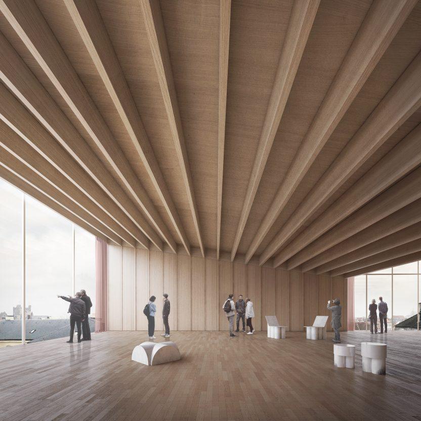 Een toekomstbeeld van de 'Loft', met panorama. © TRANS, Carmody Groarke en RE-ST